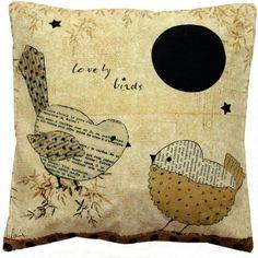 """Coussin déco"""" Lovely birds"""" Les Petites Kasko.45x45cm http://www.lespetiteskasko.com/"""