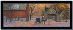 Amazon.com: Evening Visit Amish Art Print Picture Framed 18x6: Home & Kitchen