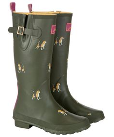 Joules Beagle Print Wellies in Green