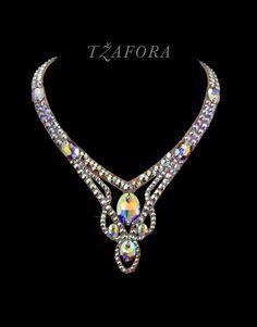 Swarovski ballroom necklace. Ballroom dance jewelry, ballroom dance dancesport accessories. www.tzafora.com Copyright © 2016 Tzafora.