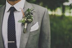 Lovely boutonniere & polka dot tie