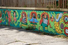 A portion of a  wall Mural by Louisville artist Noah Church, painted in 2008