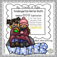 Winter addition and subtraction pack SAMPLER.  18 task cards.  Can be used as a write and wipe activity, in your math centers, or for early finishers!  Grade: Kindergarten.  FREEBIE.