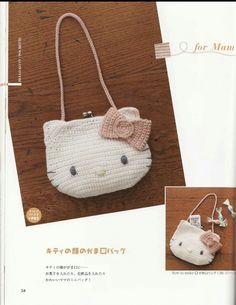Crochet Hello Kitty Hat Bag Pattern Patterns-A ของฟ้าใส Crochet Kids Hats, Crochet Purses, Crochet Crafts, Crochet Clothes, Crochet Projects, Crochet Baby, Hello Kitty Crochet, Hello Kitty Bag, Kids Bags