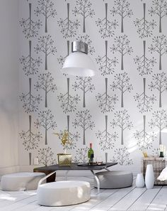 Dill. Decorative Scandinavian Wall Stencil for DIY projects, Decorative Wallpaper look and easy Home Decor. Scandinavian design means quality by all means.