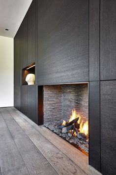 Steel liner at opening, narrow antique firebrick liner. bluestone will go into firebox - flush hearth Fireplace Tv Wall, Living Room With Fireplace, Living Rooms, Contemporary Fireplace Designs, Modern Fireplaces, Wall Cladding, Interior Design Inspiration, Interior Architecture, New Homes