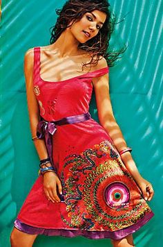 Desigual designs exude a free-spirited and creative energy, amping up entire ensembles for the whole family. Stay informed of future events on Cute Dresses, Summer Dresses, Formal Dresses, Kinds Of Clothes, Clothes For Women, Style Casual, My Style, My Wardrobe, Dress Skirt