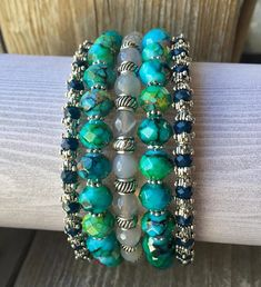 Blue N' Bold Multi Strand Memory Wire Bracelet With