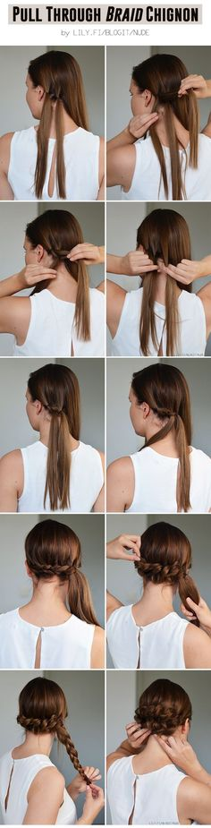 cool Pull Through Braid Chignon for a wedding or on a date ♥... by http://www.danazhaircuts.xyz/hair-tutorials/pull-through-braid-chignon-for-a-wedding-or-on-a-date/