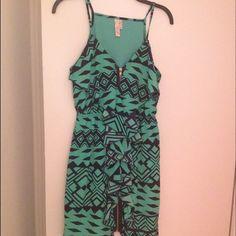 Prevett patterned dress with zipper Mini green and blue dress with zipper down the whole dress. Dresses Mini