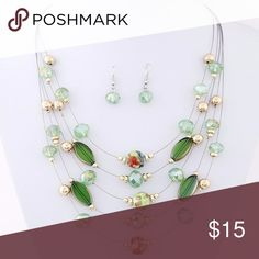 """GREEN KOREAN STYLE CRYSTAL BEADS NECKLACE SET Product Content: Environmental Alloy, Crystal Length: Approx. 40cm Earrings: 2.7cm"""" Drop, Post back Lobster claw clasp with 3.0"""" Extender Jewelry Necklaces"""