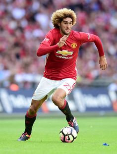 Marouane Fellaini of Manchester United in action during The FA Community Shield match between Leicester City and…