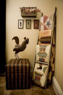 I love decorating with quilts.... Thanks to Grey for all her fabulous ideas!! Here are two ways to decorate with an old ladder.   I have bee...