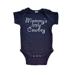 Mommy's Little Cowboy Adorable Cute Baby Soft Cotton Country Western Boy Creeper (Newborn, Navy Blue). 100% Cotton. Eco-Friendly Water Based Ink. Hand-printed in Utah, USA. Original Apericots Design. Most Apericots products are now tagless!.
