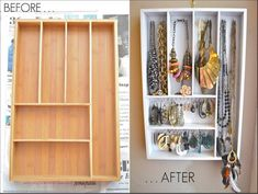 Transform a silverware drawer organizer into a DIY jewelry storage - brilliant! Or one of those old ugly knick-knack shelves.