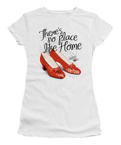 Love this White 'There's No Place Like Home' Ruby Slippers Tee - Juniors by The Wizard of Oz on #zulily! #zulilyfinds