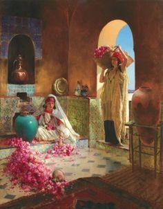 Rudolf ERNST (1854-1932) La cueillette des roses. http://www.pinterest.com/cgis2/orientalisme-arts-islamiques/