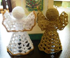 Beautiful Crochet Angels in Gold color & White with Gold detailing, Precious Ornament on your Christmas Tree