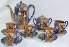 Japan Lusterware Birds Blossoms Tea Set Hand Painted Teapot Creamer Sugar Cups Peach Orange Blue Purple