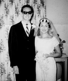 Buddy Holly and wife María Elena on their wedding day, August 15, 1958. He asked her out two weeks after she started work as a receptionist for music publisher Peermusic. She had never been out on a date and told Holly he would have to ask her aunt for permission. Holly promptly got her aunt's permission. Five hours into their first date, Buddy handed a rose to Maria and asked her to marry him. They were married less than two months later, in Buddy's hometown of Lubbock, Texas.