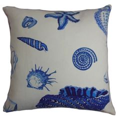Rayen Coastal Natural Blue Down Filled Throw Pillow | Overstock.com Shopping - The Best Deals on Throw Pillows