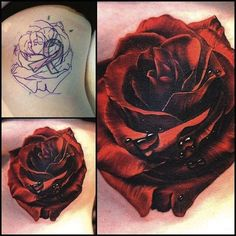 red rose by Phil Garcia, Port Hueneme Ca, USA | cover up tattoos                                                                                                                                                                                 More