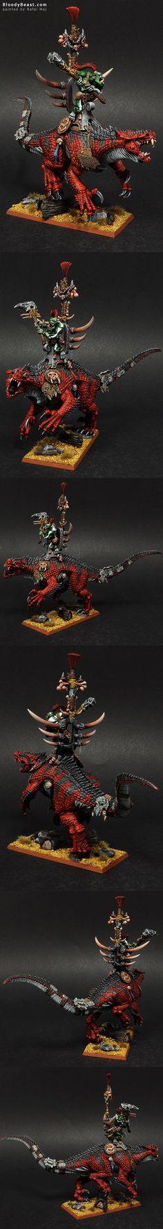 Savage Orc Warboss on Carnosaur painted by Rafal Maj (BloodyBeast.com)