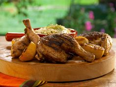 Brined Butterflied Chicken Alla Diavola with Lemony Fennel Slaw recipe from Bobby Flay