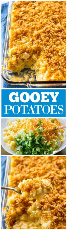 Gooey Potatoes - creamy, cheesy potatoes topped with buttery crunchy cornflakes. Some people call these funeral potatoes but this name is much less morbid. http://the-girl-who-ate-everything.com