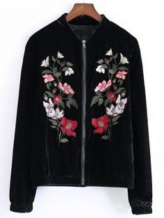 Black Flower Embroidered Velvet Jacket
