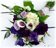 cream purple garden  wedding bouquet