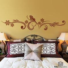 Grand Vinilos Decorativos: Cabecero Floral Y Mariposa Mural Floral, Butterfly  Wall Stickers, Wood Gifts