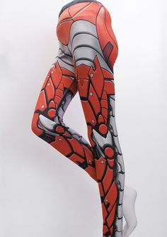 Bionic Leggings  Size XL Siren Red  Printed Metal Robot by Mitmunk, $79.00. These are amazing!