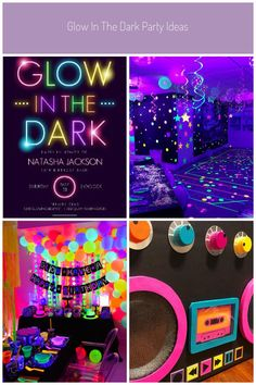 #party neon Glow In The Dark Typography Birthday Party Invitation | Teen Birthday Invitation