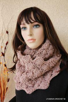 Chunky Crochet Infinity Cowl Beige Scarf Crochet by crochetlyubava, $55.00