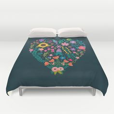 Floral Heart Duvet Cover by Anna Deegan | Society6