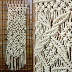 Painel de macramê de cordão de algodão na cor crú