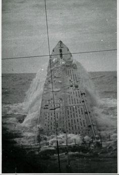 German U-427 surfacing.