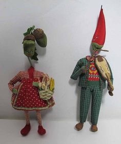 (2) C 1950s Mid Century Vintage Wool Vegetable Head Pepper Acorn Fairy Dolls made in Italy