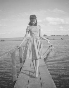 1950's....Lovely young lady in a pretty gingham dress