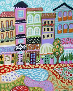 Painting - Abstract Folk Art Landscape Modern Village by Karen Fields