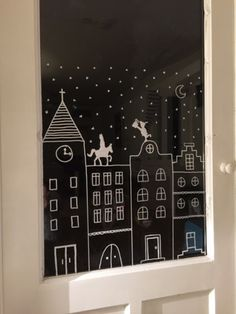 Christmas Makes, Christmas Crafts, Window Markers, Window Art, Christmas Villages, Diy Weihnachten, Xmas Decorations, Hand Lettering, Diy And Crafts