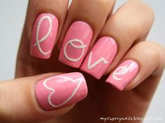 Generally, people thought nail art can be possible on long nails But actually, it's not so! Simple nail art designs for short nails are not only popular Cute Pink Nails, Pink Nail Art, Pretty Nails, Heart Nail Designs, Simple Nail Art Designs, Jolie Nail Art, Cherry Nails, Uñas Fashion, Latest Fashion