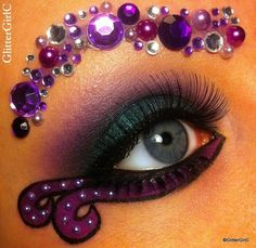 Artistic purple eye shadow and gems inspired by Ursula of Disney's The Little Mermaid.