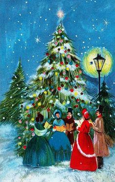 Old Christmas Post Cards — Christmas Carols Old Time Christmas, Christmas Scenes, Old Fashioned Christmas, Victorian Christmas, Christmas Music, Retro Christmas, Christmas Love, Christmas Pictures, Christmas Carol