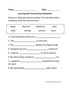 englishlinx com transitional words worksheets englishlinx com  context clues worksheets