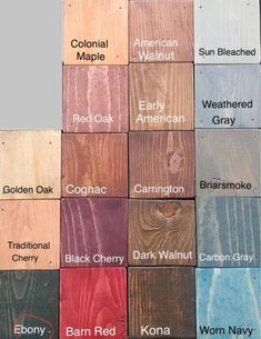 Wood Stain Color Chart, Wood Stain Colors, Wood Box Decor, Wood Boxes, Color Washed Wood, Floor Stain, Paint Swatches, Red Barns, Paint Stain