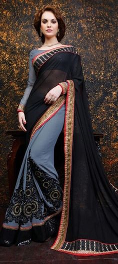 $89 173634 Black and Grey  color family Embroidered Sarees, Party Wear Sarees in Georgette fabric with Lace, Machine Embroidery, Stone work   with matching unstitched blouse.