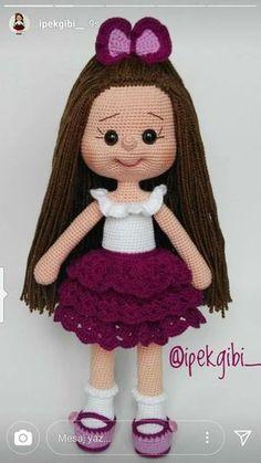 Crochet Dolls JULIA Crochet Toy / Amigurumi Doll - Crochet Doll for Daughter, Gift for Children, Gift for Baby, Gi - Salvabrani Crochet Doll Pattern, Crochet Patterns Amigurumi, Amigurumi Doll, Crochet Dolls, Knitting Patterns, Cute Crochet, Crochet Baby, Doll Face, Stuffed Toys Patterns