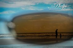 Awesome Beach Photo shot behind sunglasses! Beach photo, family photo, father son photo, sunglass photo